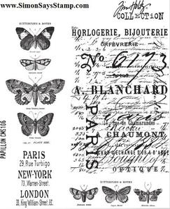 Tim Holtz Cling Rubber Stamps PAPILLON CMS106 Butterfly