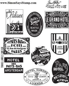 Tim Holtz Cling Rubber Stamps TRAVEL LABELS CMS108 Preview Image