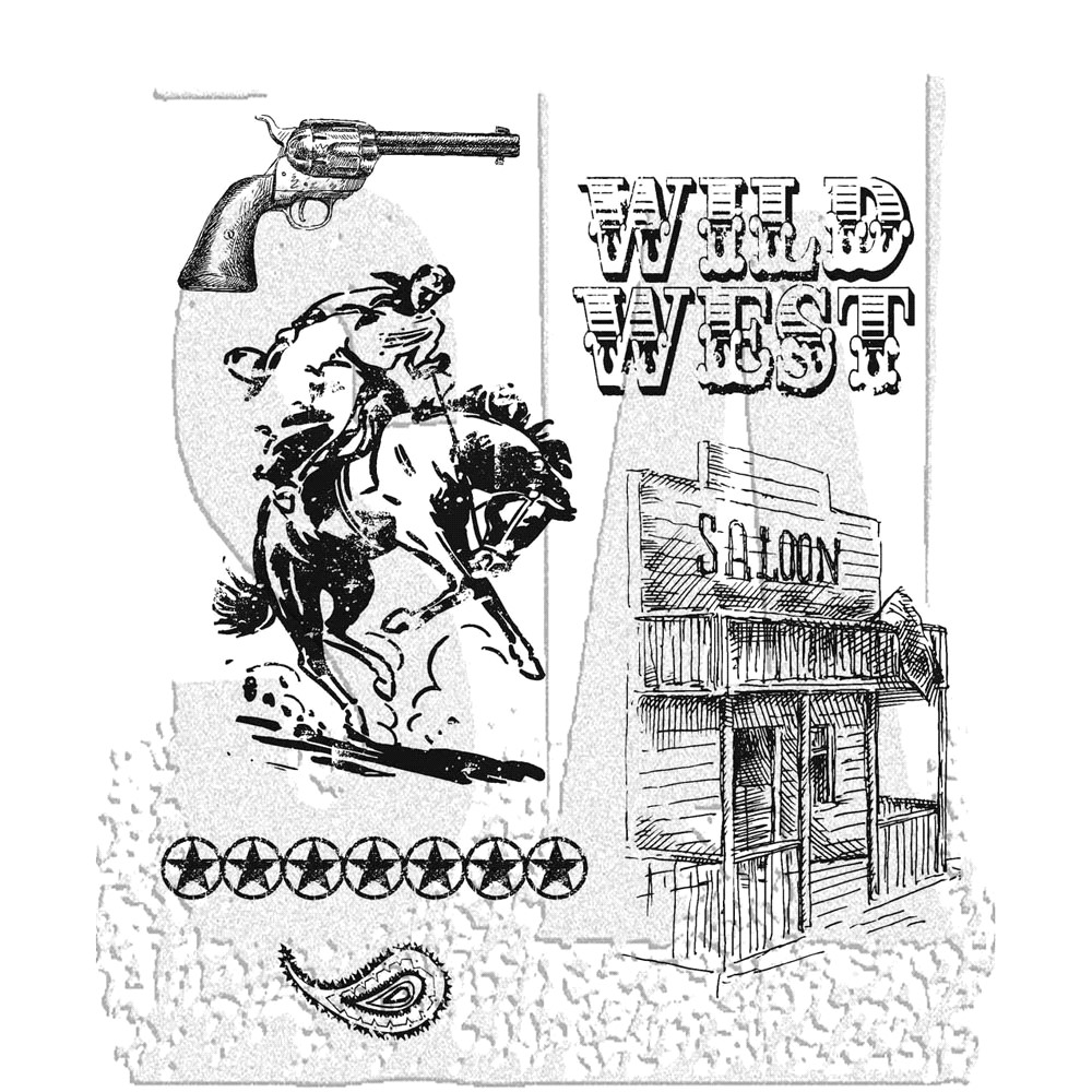 Tim Holtz Cling Rubber Stamps WILD WEST CMS109 zoom image