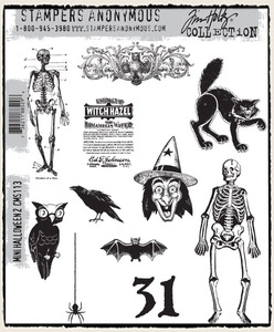 Tim Holtz Cling Rubber Stamps MINI HALLOWEEN 2 TWO CMS113 zoom image
