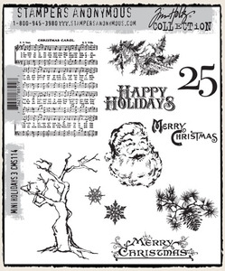 Tim Holtz Cling Rubber Stamps MINI HOLIDAYS 3 THREE CMS114