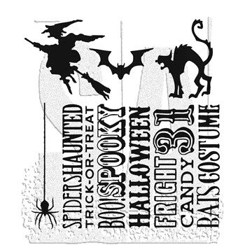 Tim Holtz Cling Rubber Stamps HALLOWEEN SILHOUETTES CMS115