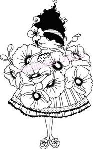Stamping Bella Cling Stamp LULU LOVES POPPIES Rubber UM LL129* zoom image