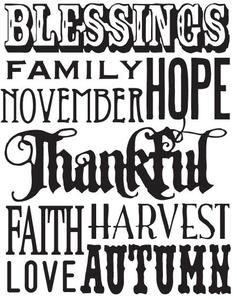 Tim Holtz Rubber Stamp THANKFUL WORDS Stampers Anonymous X1-1758 Preview Image