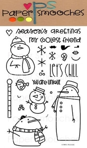 Paper Smooches SWANKY SNOWDUDES Clear Stamps Kim Hughes*