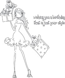 Stamping Bella Cling Stamp UPTOWN GIRL POSH HAS A PRESENT Rubber UM LL131