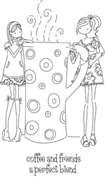 Stamping Bella Cling Stamp UPTOWN GIRLS CLARISSA AND CAMILLE SHARE A CAFE Rubber UM LL130 zoom image