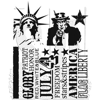 Tim Holtz Cling Rubber Stamps AMERICANA SILHOUETTES cms122