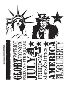 Tim Holtz Cling Rubber Stamps AMERICANA SILHOUETTES cms122 zoom image