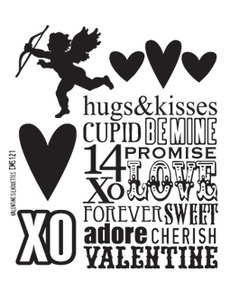 Tim Holtz Cling Rubber Stamps VALENTINE SILHOUETTES cms121 *