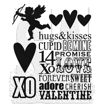 Tim Holtz Cling Rubber Stamps VALENTINE SILHOUETTES cms121