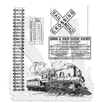 Tim Holtz Cling Rubber Stamps ON THE RAILROAD cms127