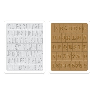 Tim Holtz Sizzix SUBWAY & STENCIL Embossing Folders 657948 Preview Image