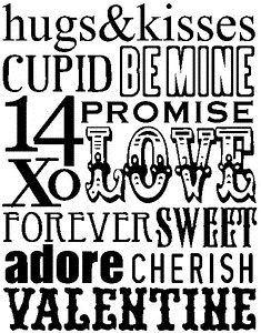 Tim Holtz Rubber Stamp VALENTINE WORDS Stampers Anonymous X1-1787 zoom image