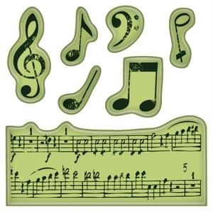 Inkadinkado Mini Cling Stamps MUSIC NOTES Rubber Unmounted 60-60152 zoom image