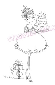 Stamping Bella Cling Stamp UPTOWN GIRL AVA LOVES TO CELEBRATE Rubber UM EB216 Preview Image